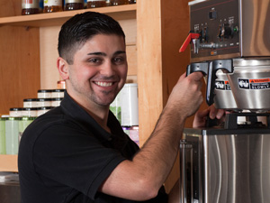 brewing coffee in a commercial coffee machine