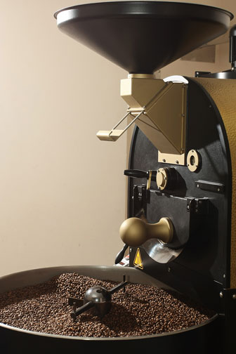coffee roasting in a commercial coffee roaster